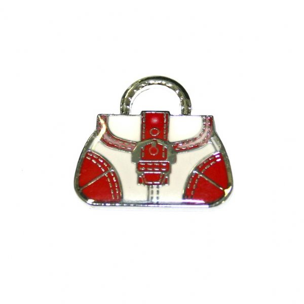 1pce x 24*22mm Rhodium plated pink handbag with buckle enamel charm - SD03 - CHE1030